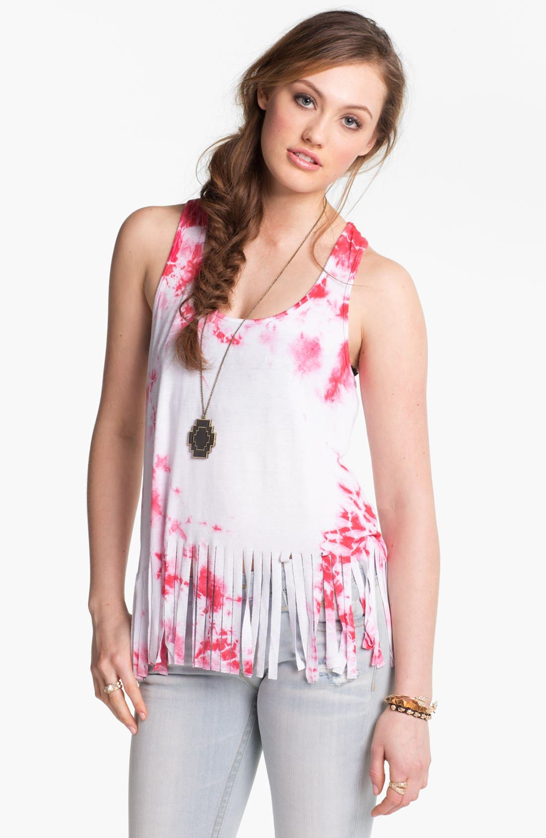 Alternate Image 1 Selected - h.i.p. Tie Dye Fringe Tank (Juniors)