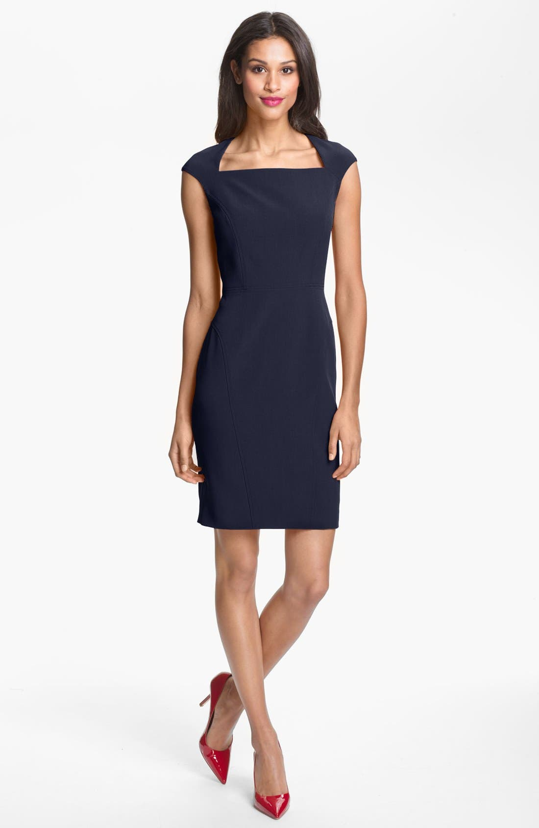 Alternate Image 1 Selected - Adrianna Papell Seamed Crepe Sheath Dress