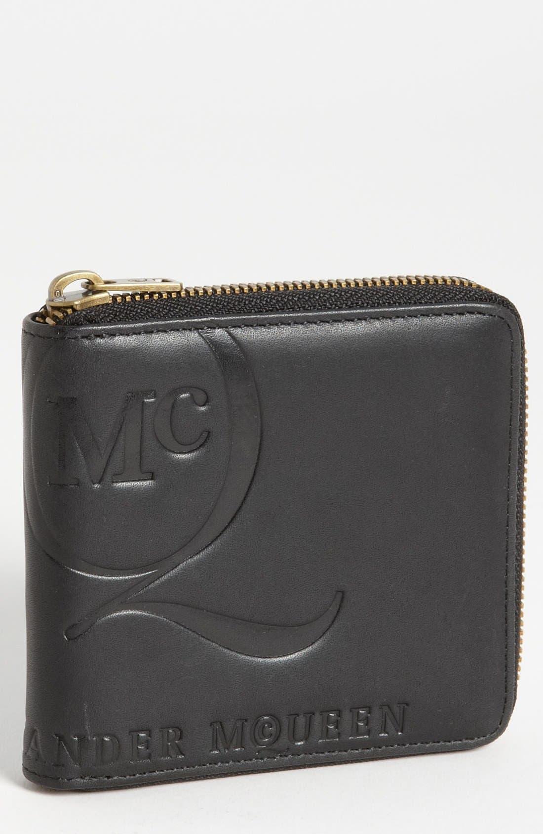 McQ by Alexander McQueen 'Aztec' Embossed Zip Around Wallet,                             Main thumbnail 1, color,                             Black