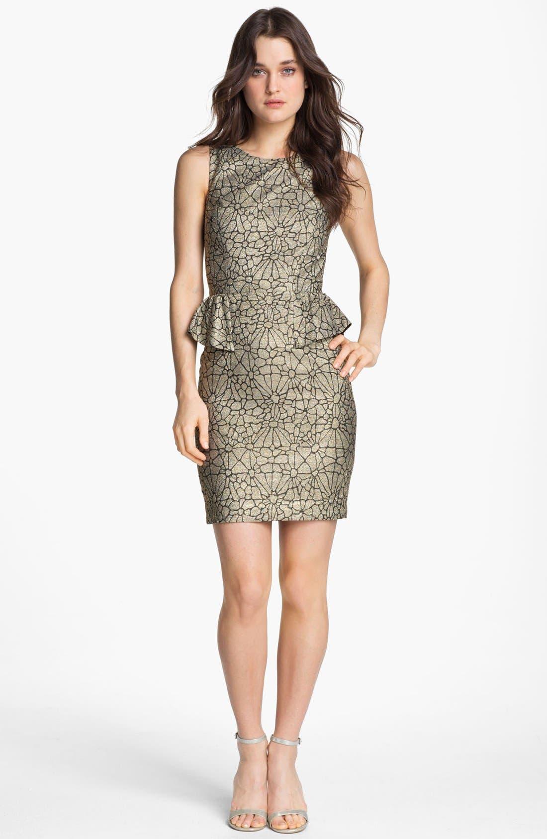Alternate Image 1 Selected - ERIN erin fetherston Metallic Peplum Sheath Dress