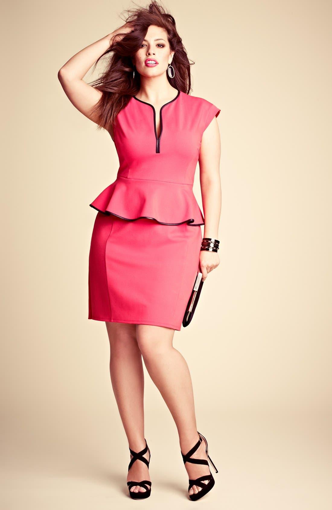 Alternate Image 4  - ABS by Allen Schwartz Leather Trim Peplum Dress (Plus Size)