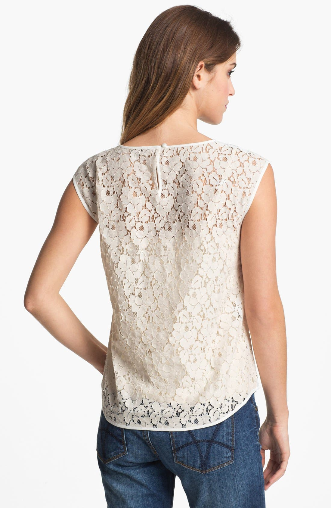 Alternate Image 2  - Halogen® Cap Sleeve Lace Shell