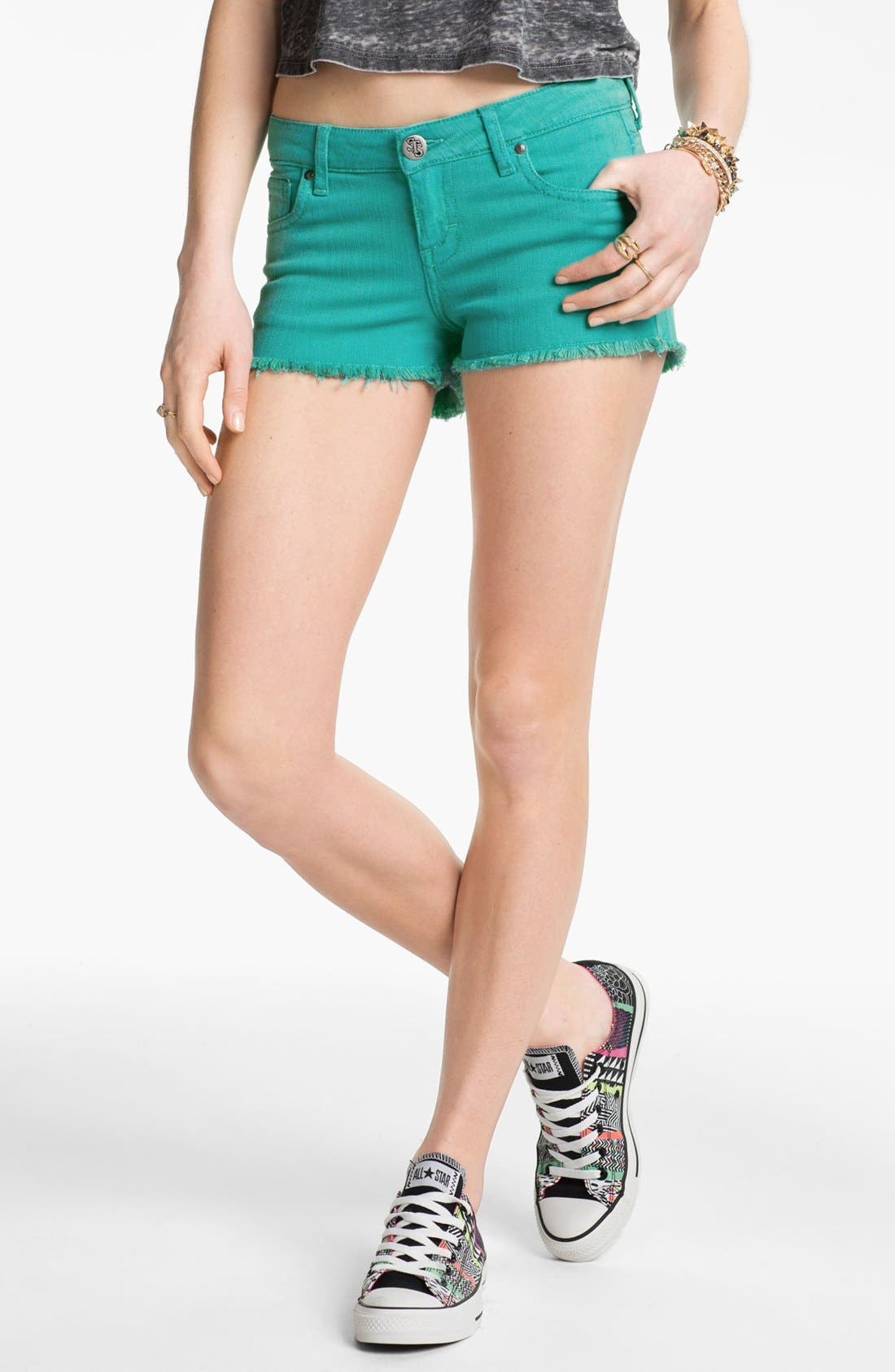 Alternate Image 1 Selected - STS Blue High Waist Cutoff Denim Shorts (Juniors)