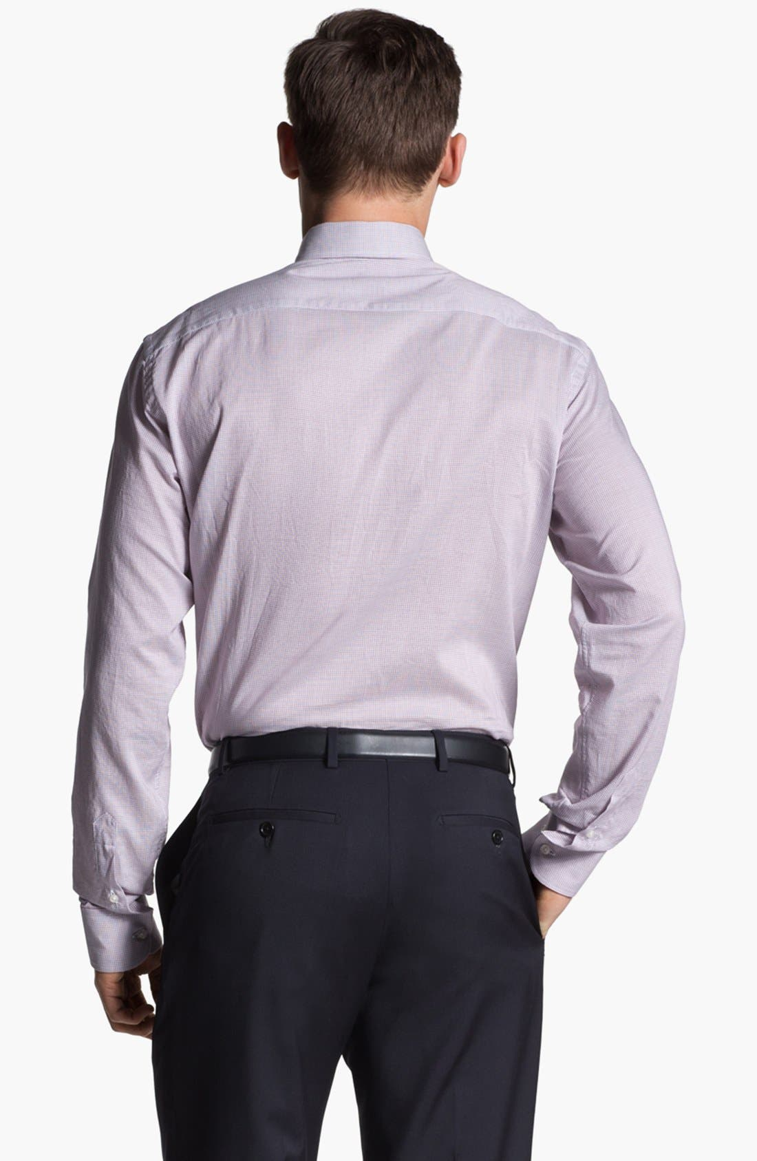 Alternate Image 2  - Armani Collezioni Trim Fit Grid Check Cotton Dress Shirt