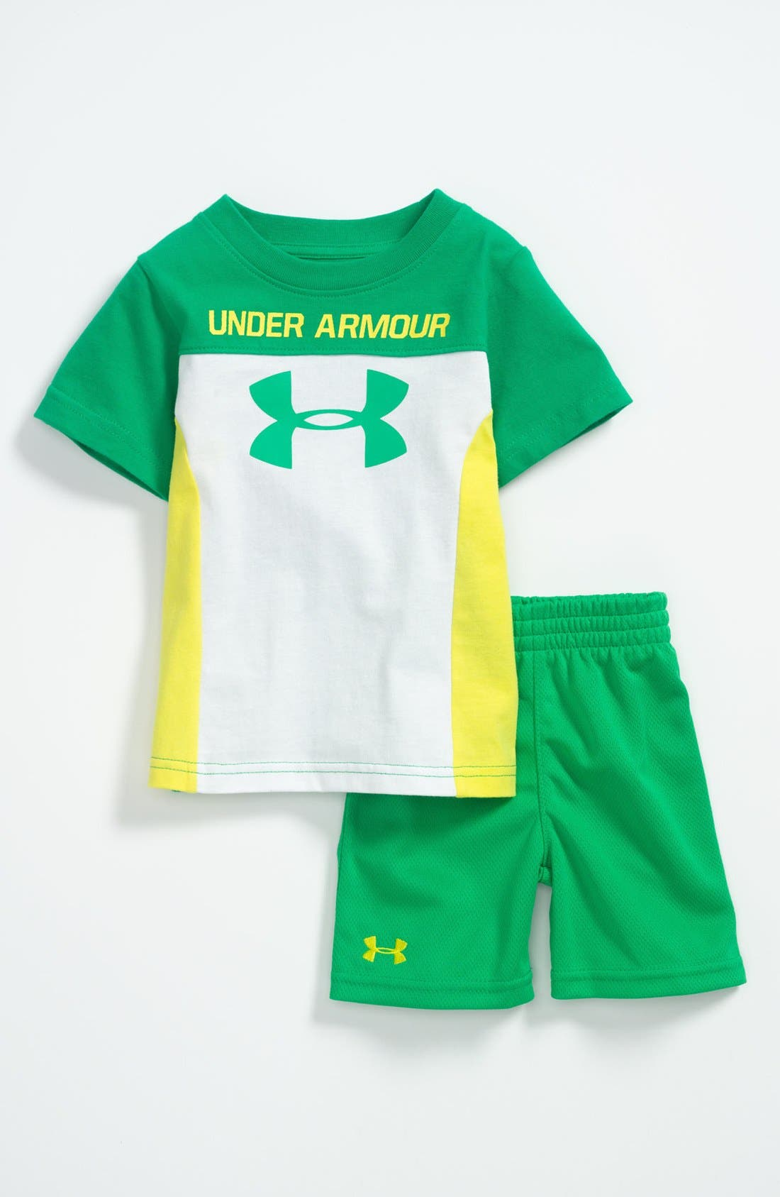 Alternate Image 1 Selected - Under Armour 'Mixed Media' T-Shirt & Shorts (Baby)