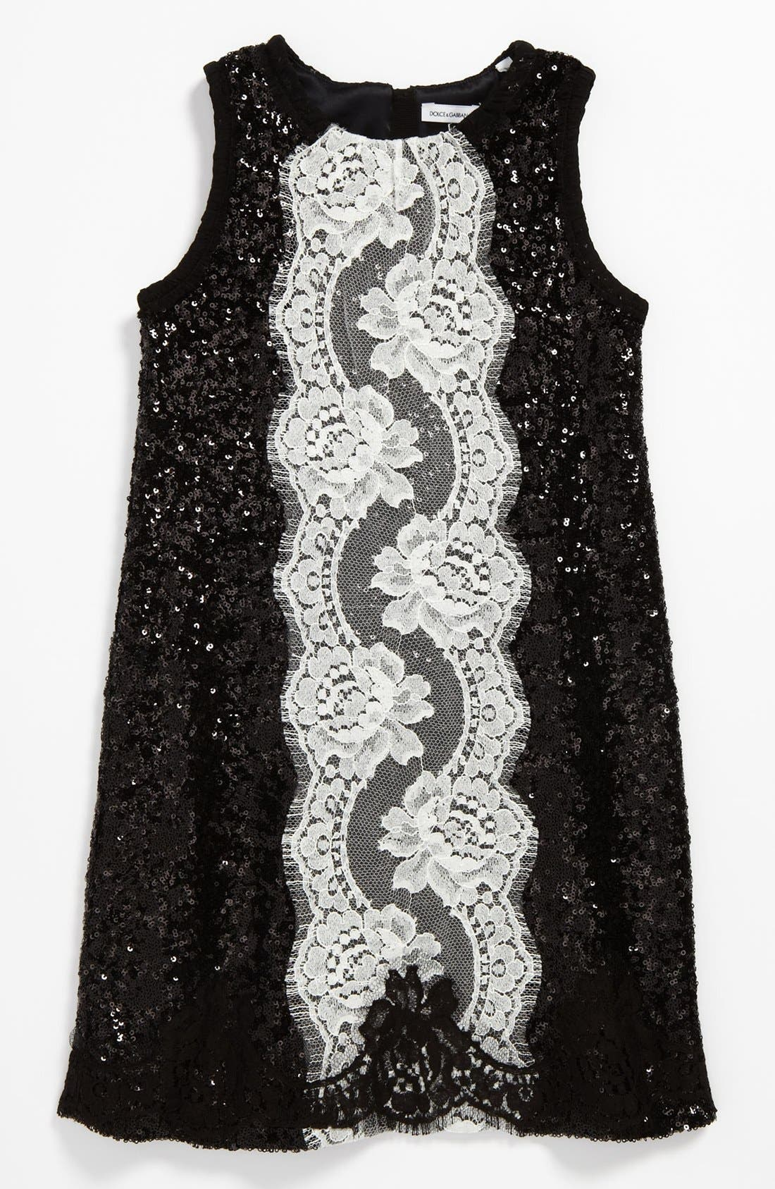 Main Image - Dolce&Gabbana Sequin Lace Dress (Little Girls & Big Girls)