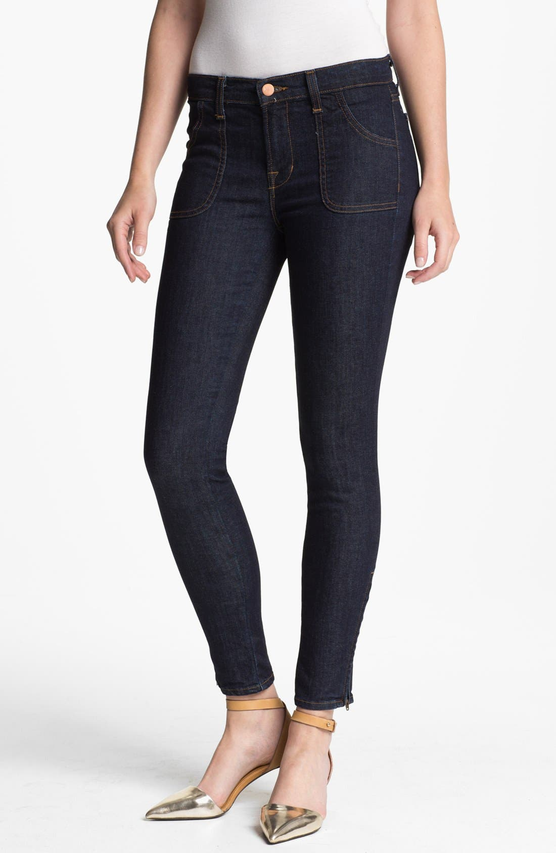 Alternate Image 1 Selected - J Brand 'Retro' Skinny Ankle Zip Jeans (Clean Rinse)