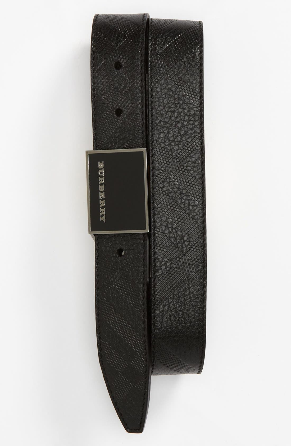 Main Image - Burberry Check Stamped Reversible Belt