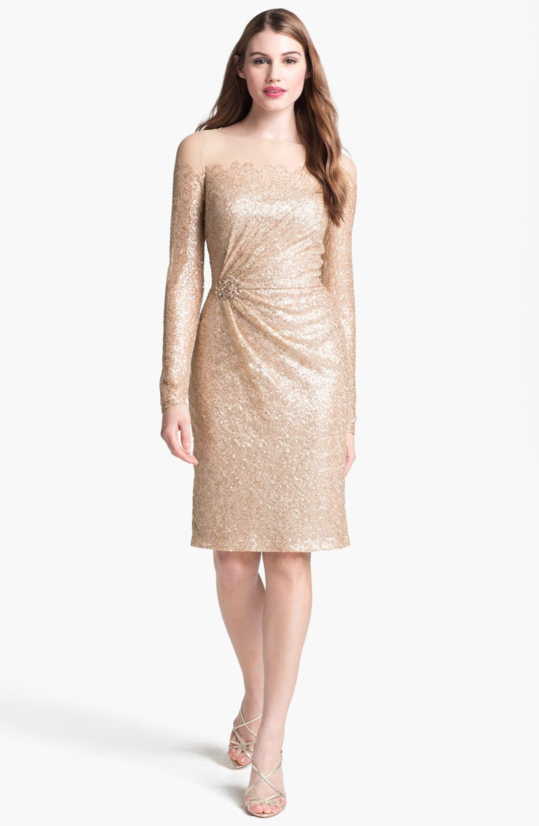 Alternate Image 1 Selected - David Meister Illusion Yoke Embellished Sheath Dress