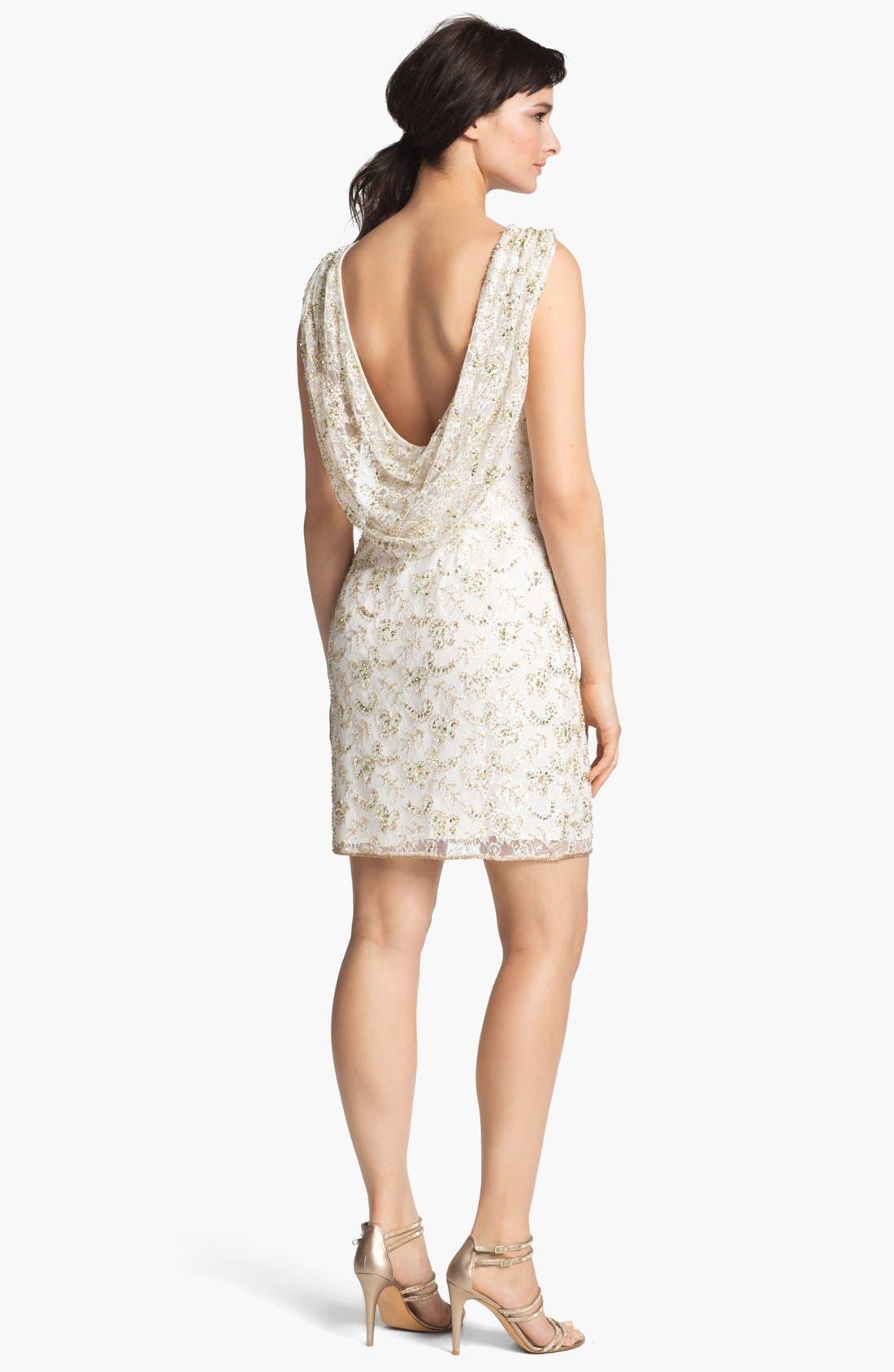 Alternate Image 2  - Pisarro Nights Draped Back Embellished Lace Sheath Dress
