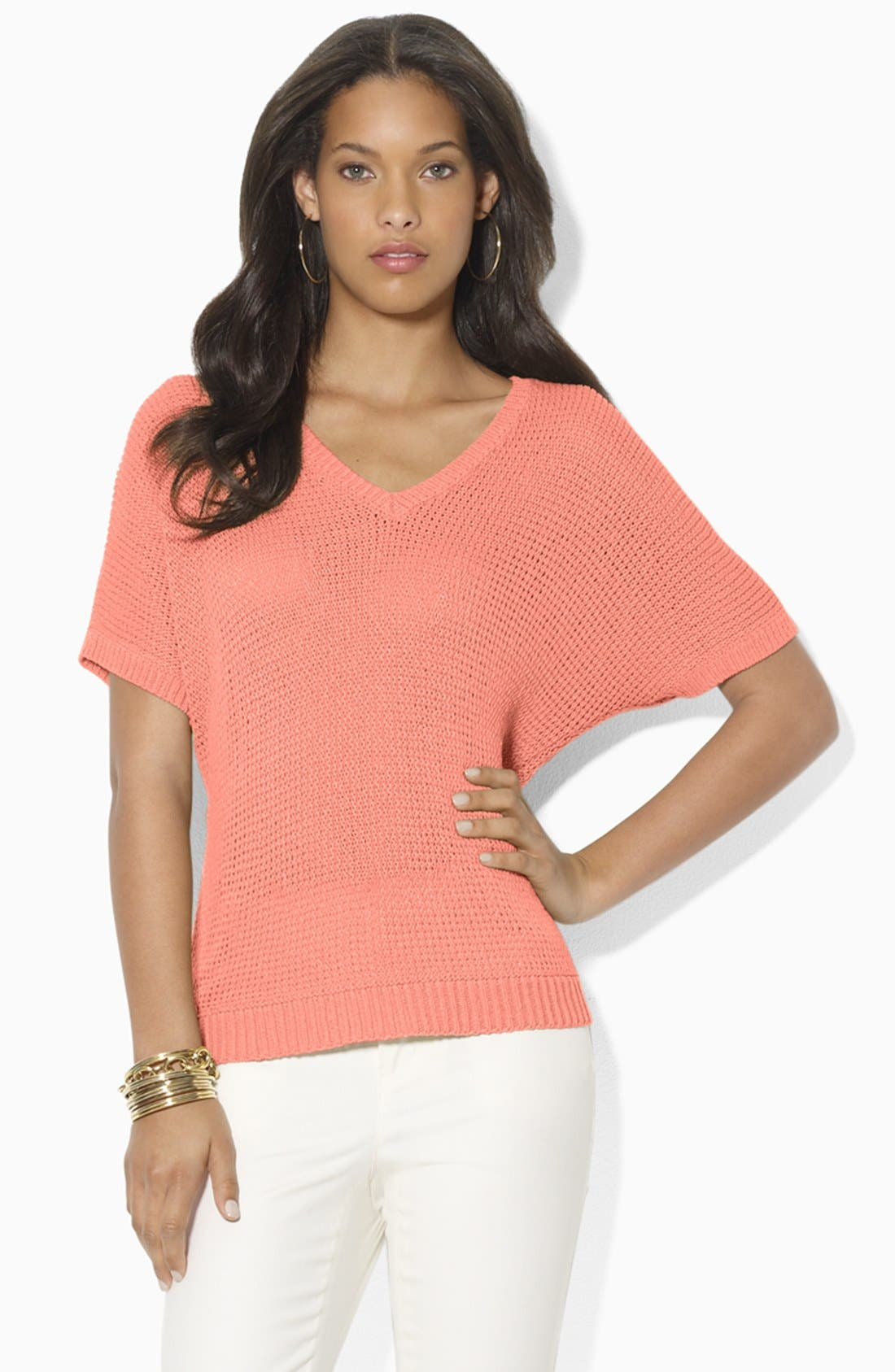 V-Neck Dolman Sleeve Sweater,                             Main thumbnail 1, color,                             Bright Tigerlily