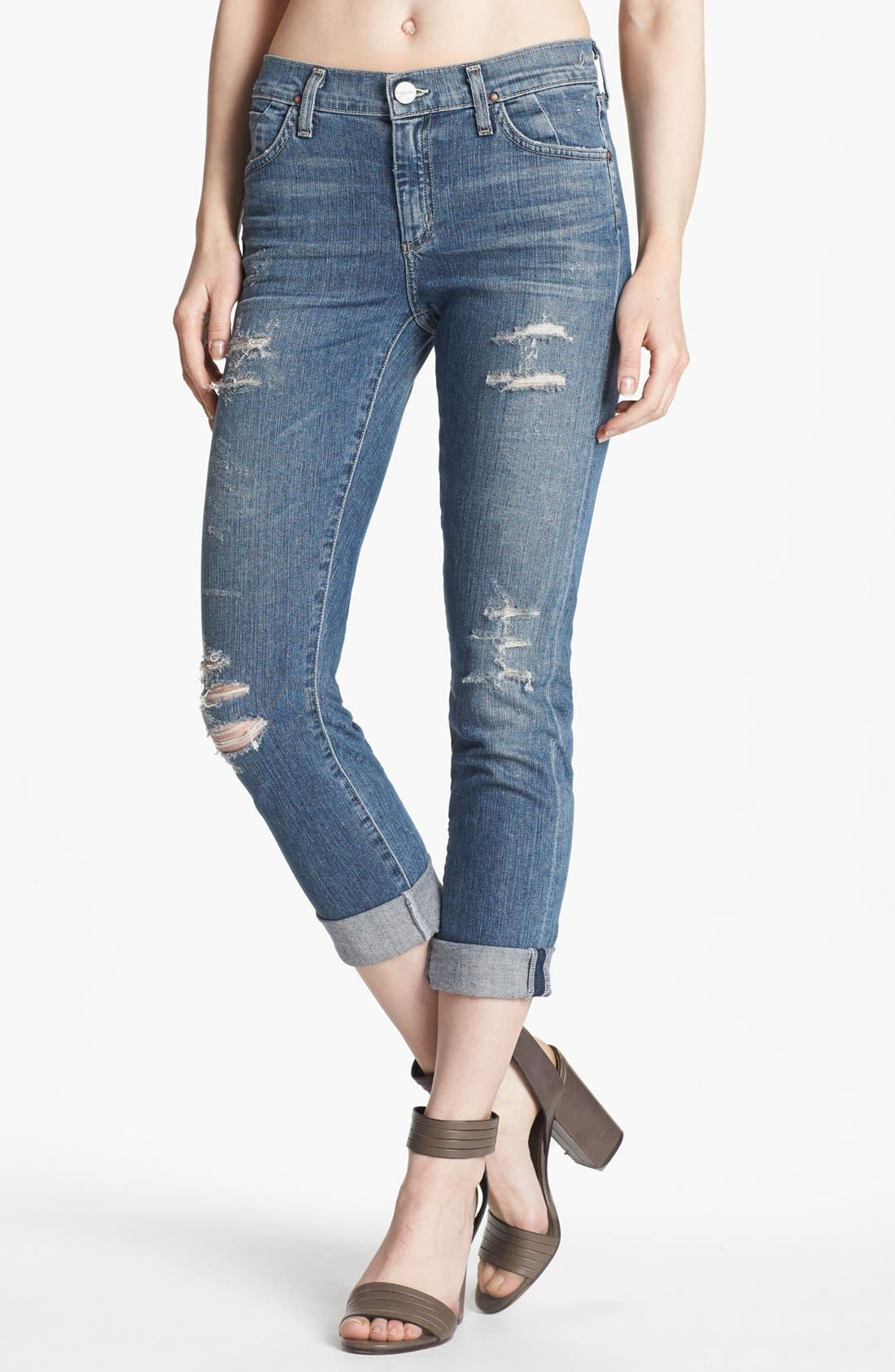 Alternate Image 1 Selected - Goldsign 'Jenny' High Waist Crop Skinny Jeans (Nadya)
