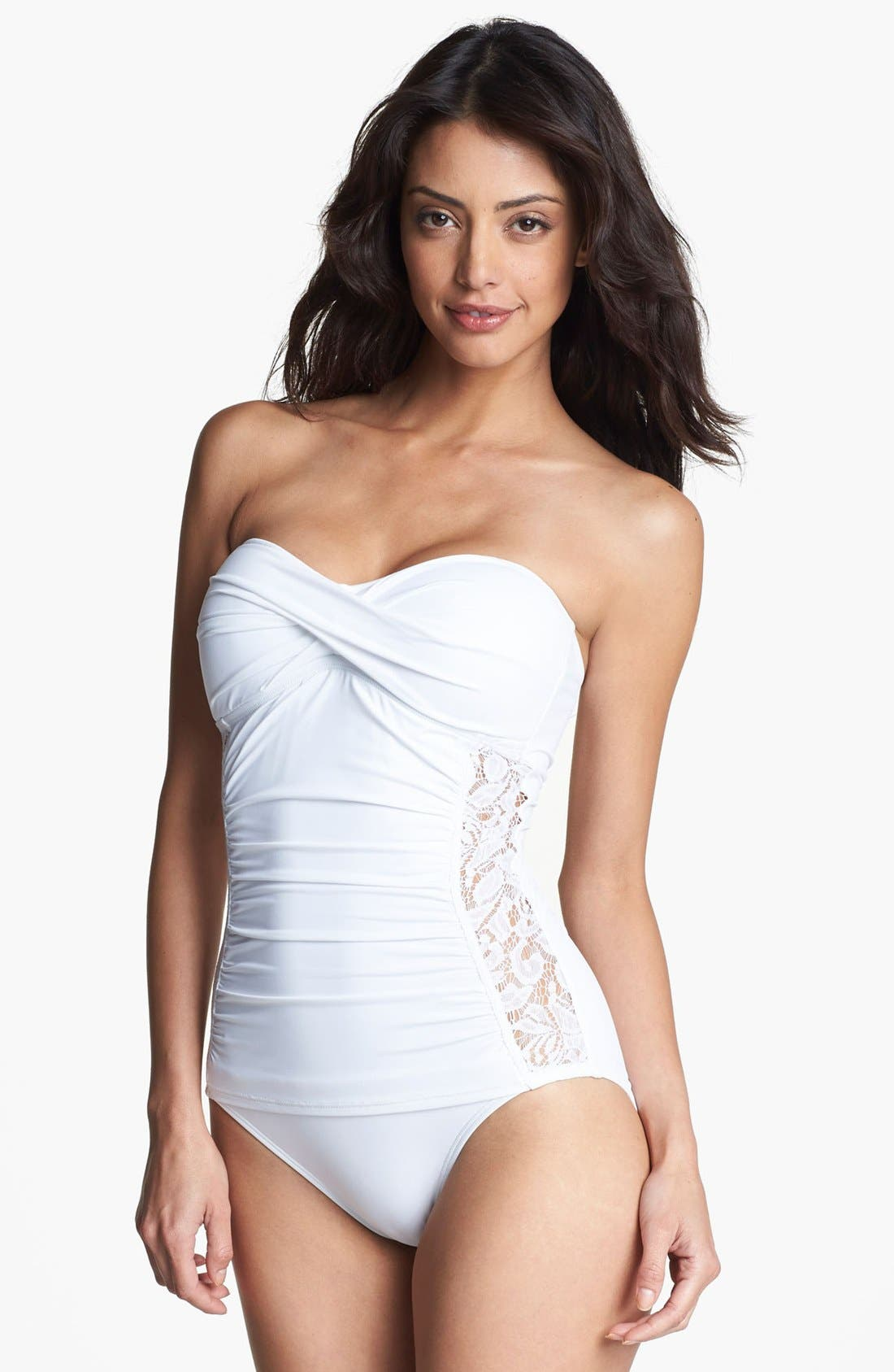 Alternate Image 1 Selected - Tommy Bahama Lace Inset One Piece Bandeau Swimsuit