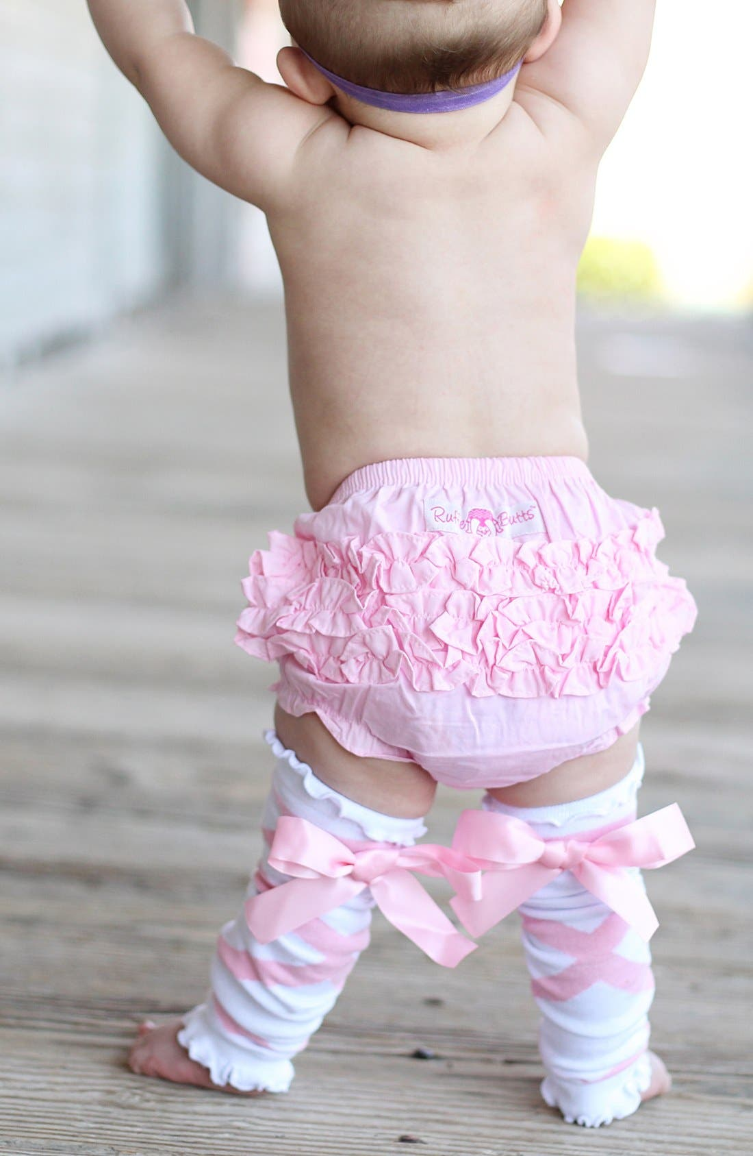 Alternate Image 2  - RuffleButts 'Ballerina' Headband, Bloomers & Leg Warmers (Baby)