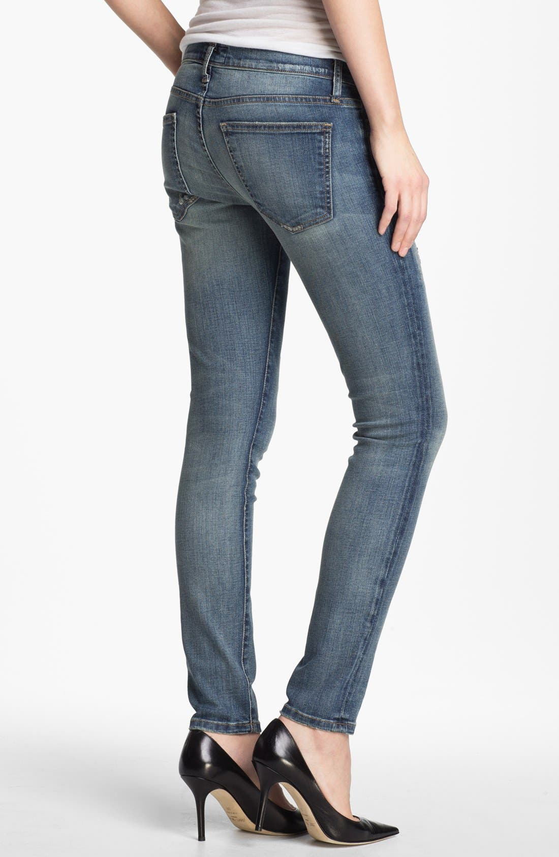 Alternate Image 2  - Current/Elliott 'The Ankle' Skinny Jeans (Pixie with Repair)