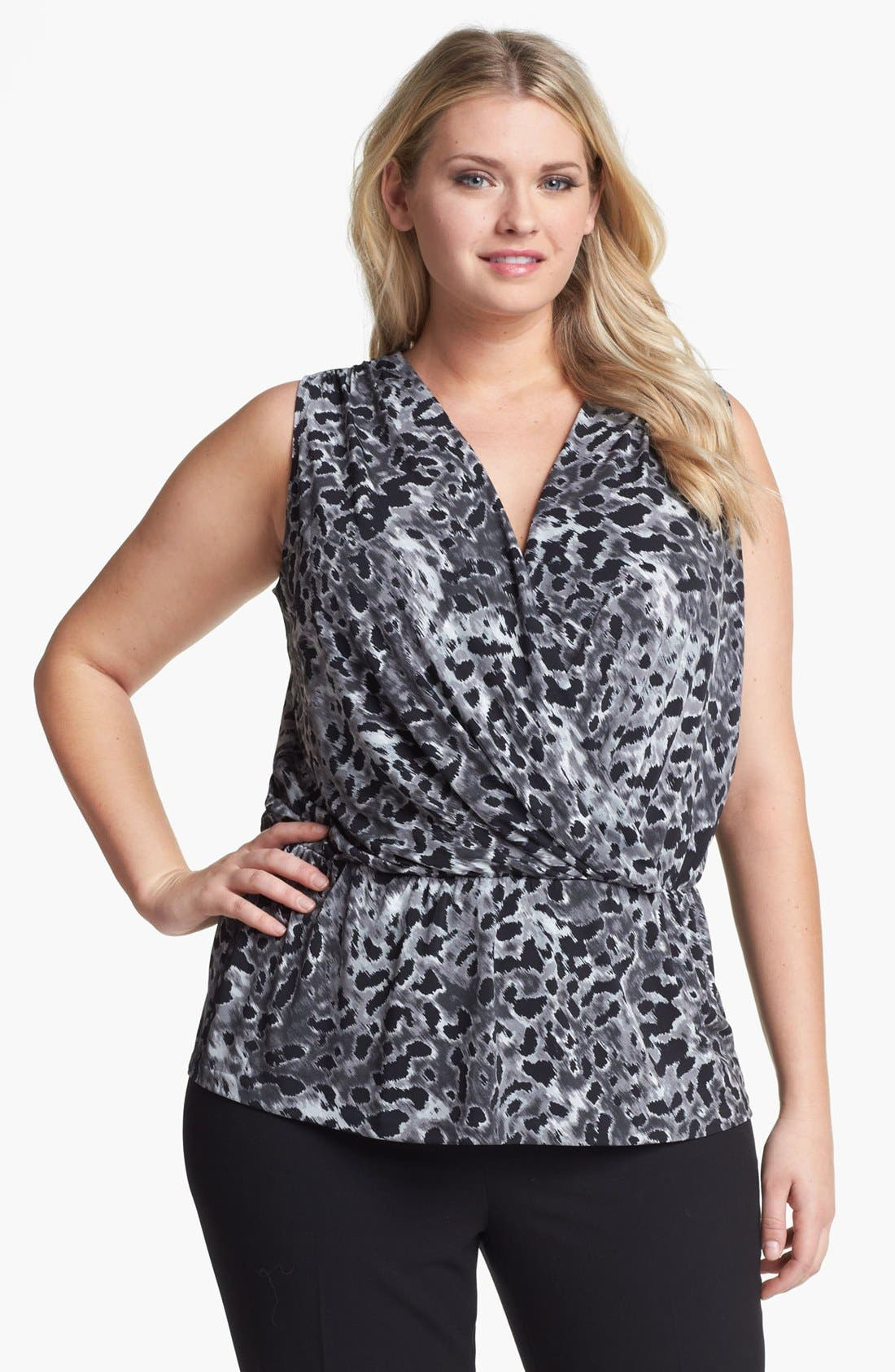 Alternate Image 1 Selected - Anne Klein Print Faux Wrap Top (Plus Size)