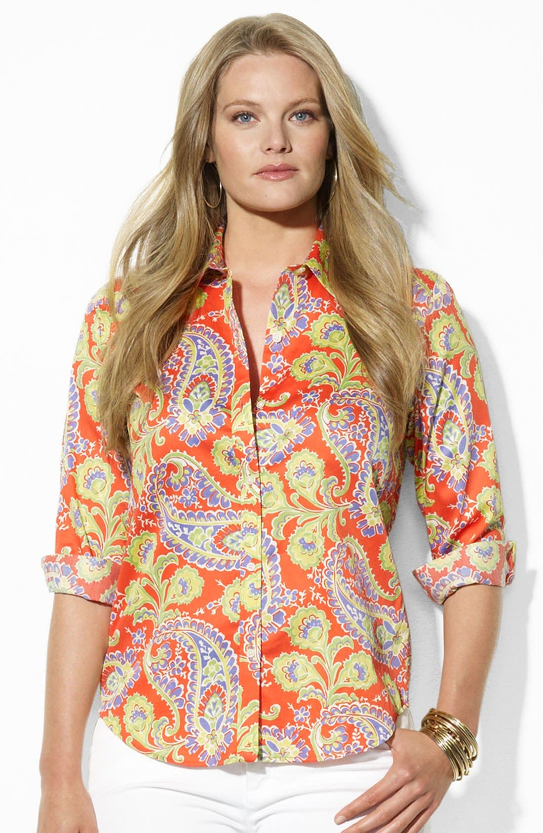 Alternate Image 1 Selected - Lauren Ralph Lauren Paisley Print Cotton Shirt (Plus Size)