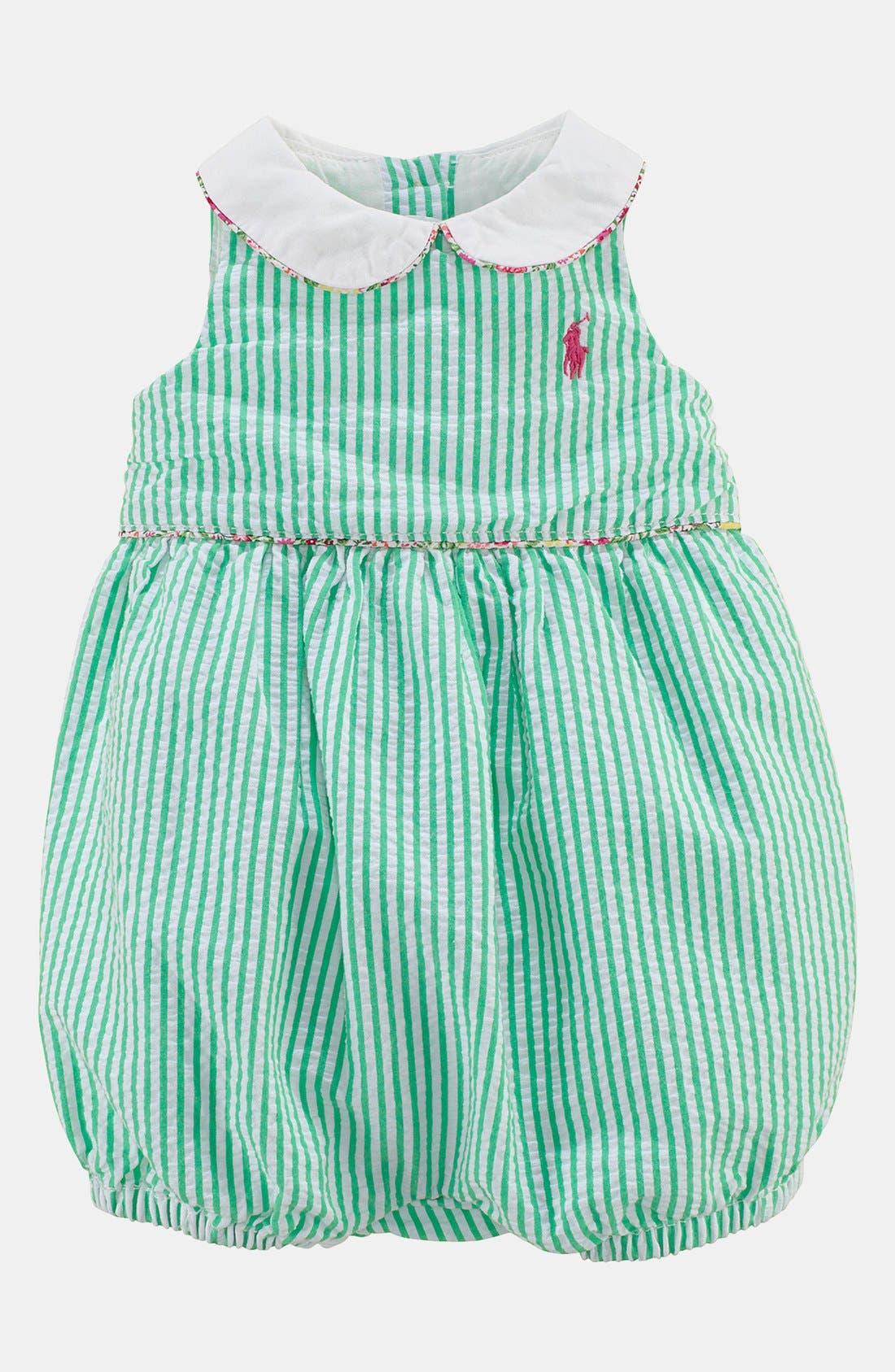 Alternate Image 1 Selected - Ralph Lauren Seersucker Coveralls (Baby)