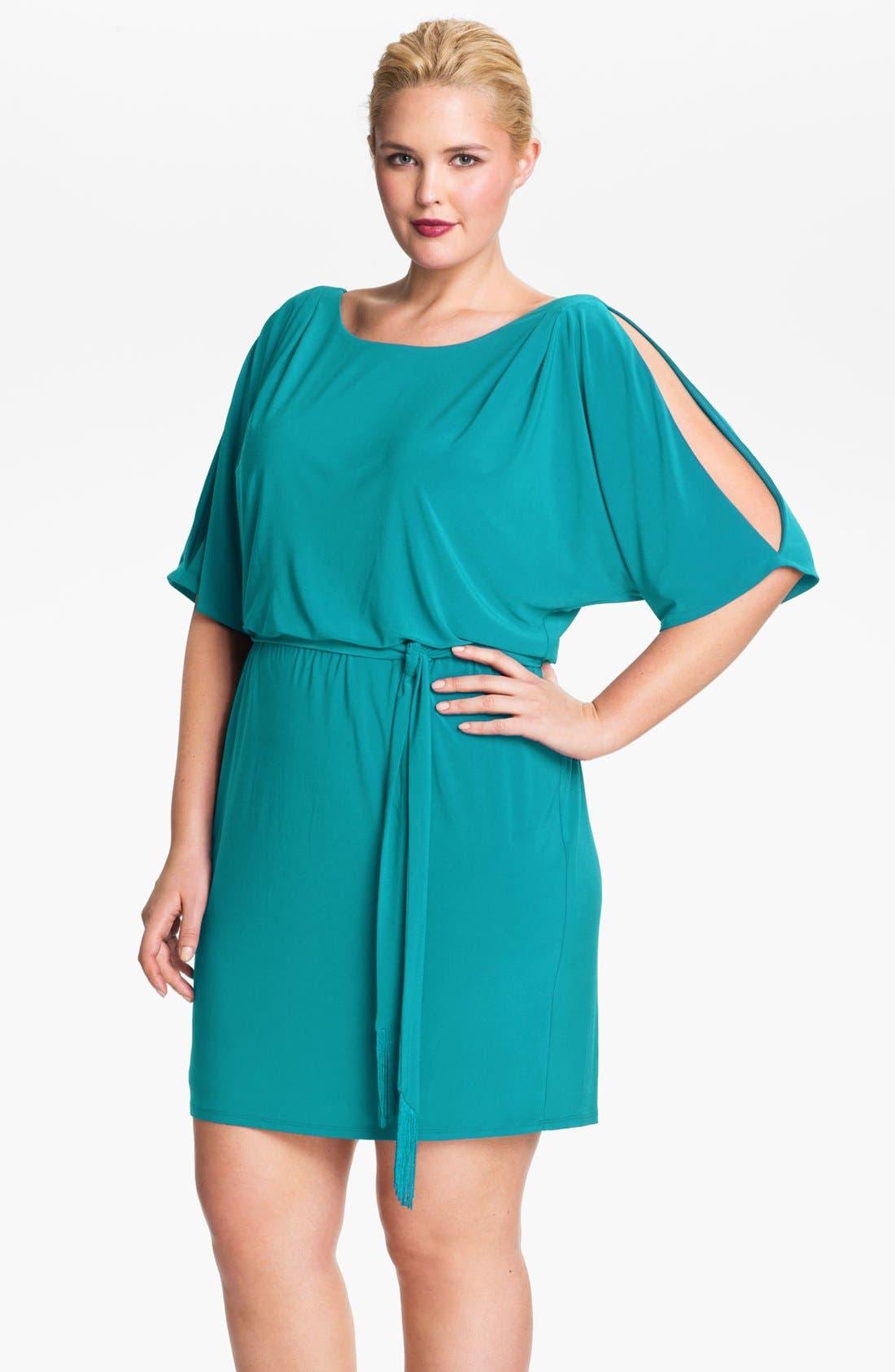Alternate Image 1 Selected - Jessica Simpson Cold Shoulder Matte Jersey Blouson Dress (Plus Size)
