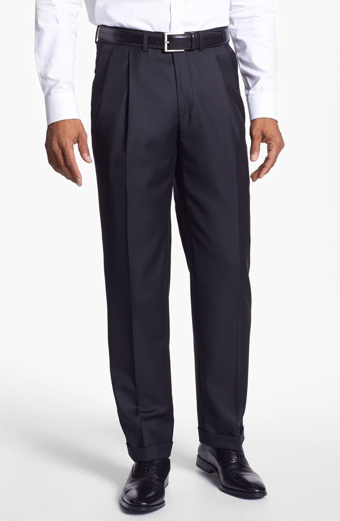 Alternate Image 1 Selected - Santorelli 'Luxury Serge' Double Pleated Wool Trousers