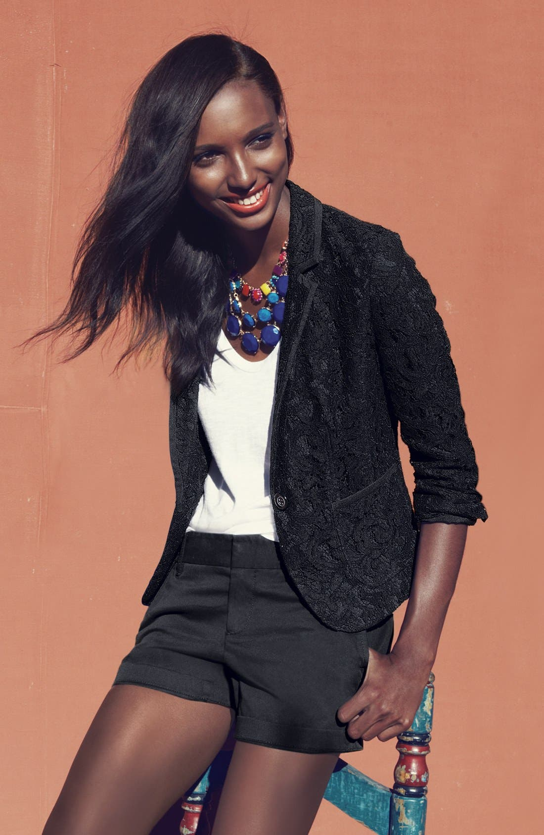 Alternate Image 6  - Halogen® Lace One Button Blazer