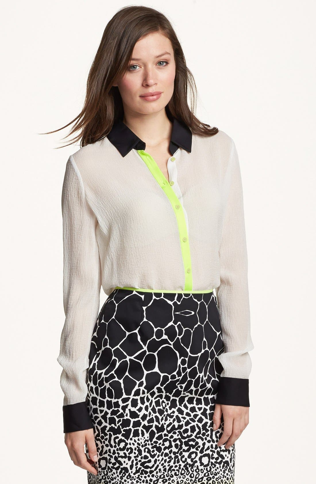 Alternate Image 1 Selected - Elie Tahari 'Chelsea' Seersucker Silk Blouse