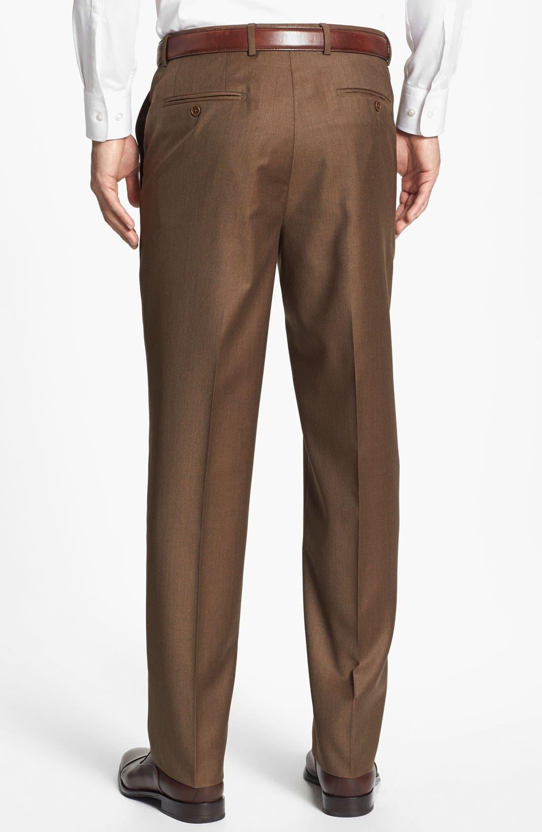 Alternate Image 2  - Santorelli Luxury Flat Front Wool Trousers