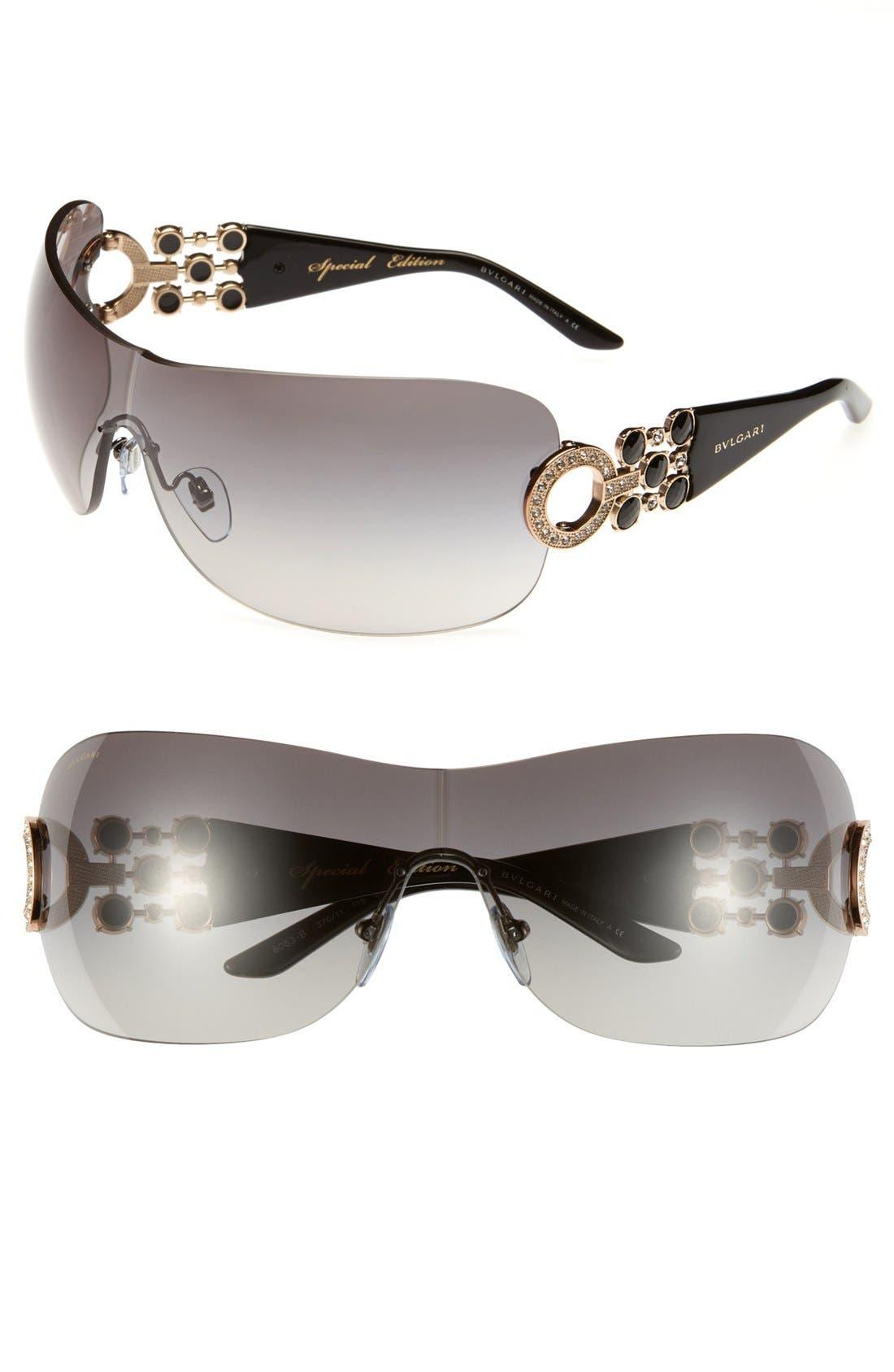 Main Image - BVLGARI 37mm Embellished Temple Rimless Shield Sunglasses