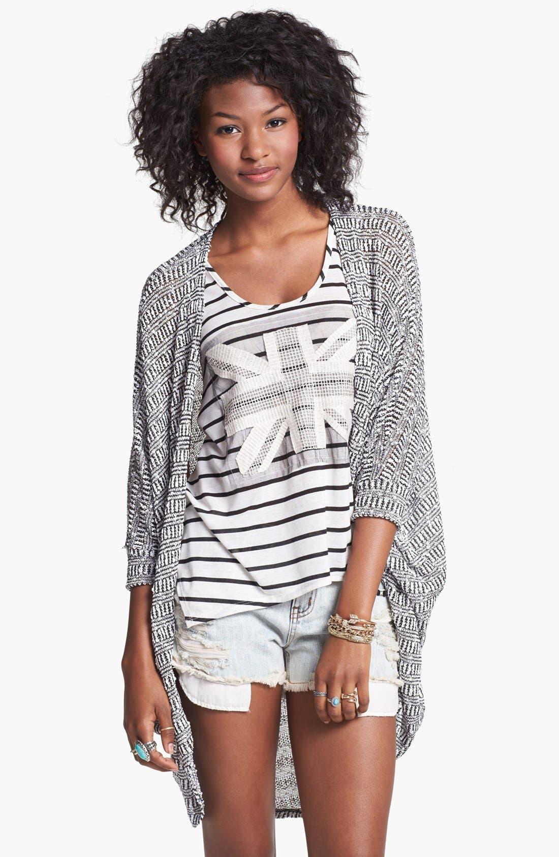 Main Image - Painted Threads Oversized Sheer Knit Cardigan (Juniors)