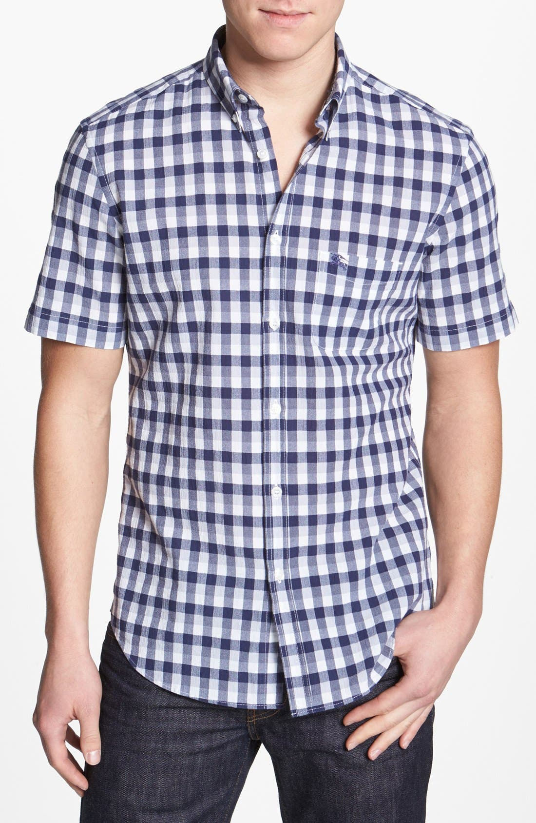 Brit 'Adken' Short Sleeve Sport Shirt,                         Main,                         color, Navy