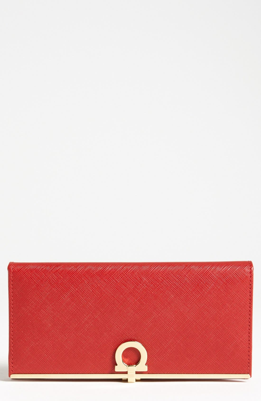 Saffiano Leather Wallet,                             Main thumbnail 1, color,                             Rosso Gold Hrdwr