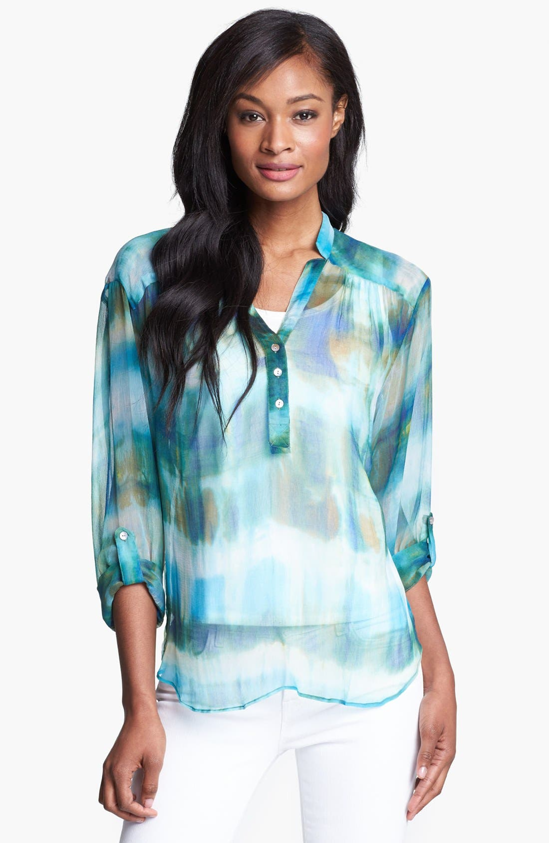 Main Image - Casual Studio Roll Sleeve Sheer Blouse