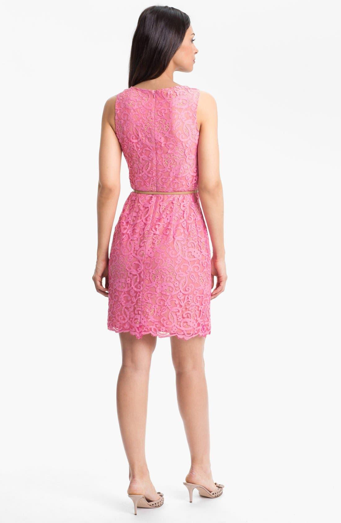 Alternate Image 2  - Donna Morgan Belted Lace Sheath Dress