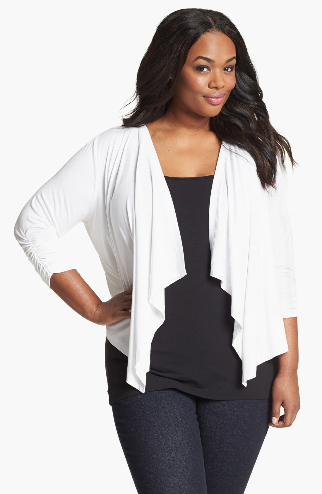 Main Image - Karen Kane Draped Jacket (Plus)