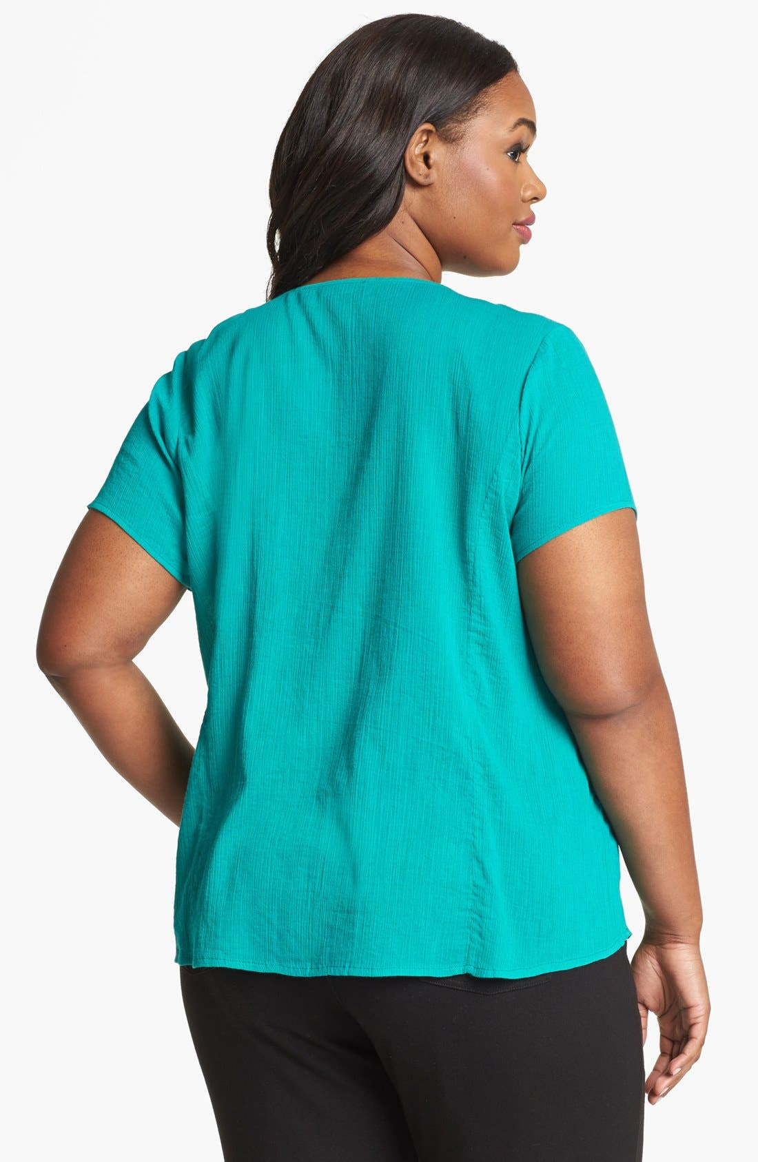 Alternate Image 2  - Lucky Brand 'Juniper' Contrast Thread Cotton Top (Plus Size)
