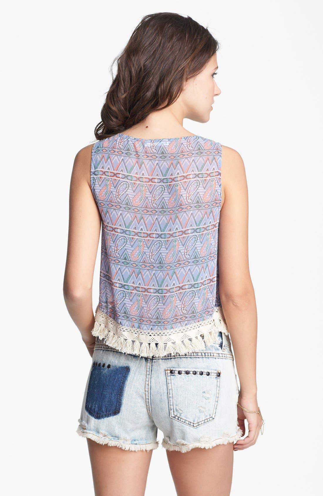 Alternate Image 2  - Lush Tassel Trim Print Tank (Juniors)