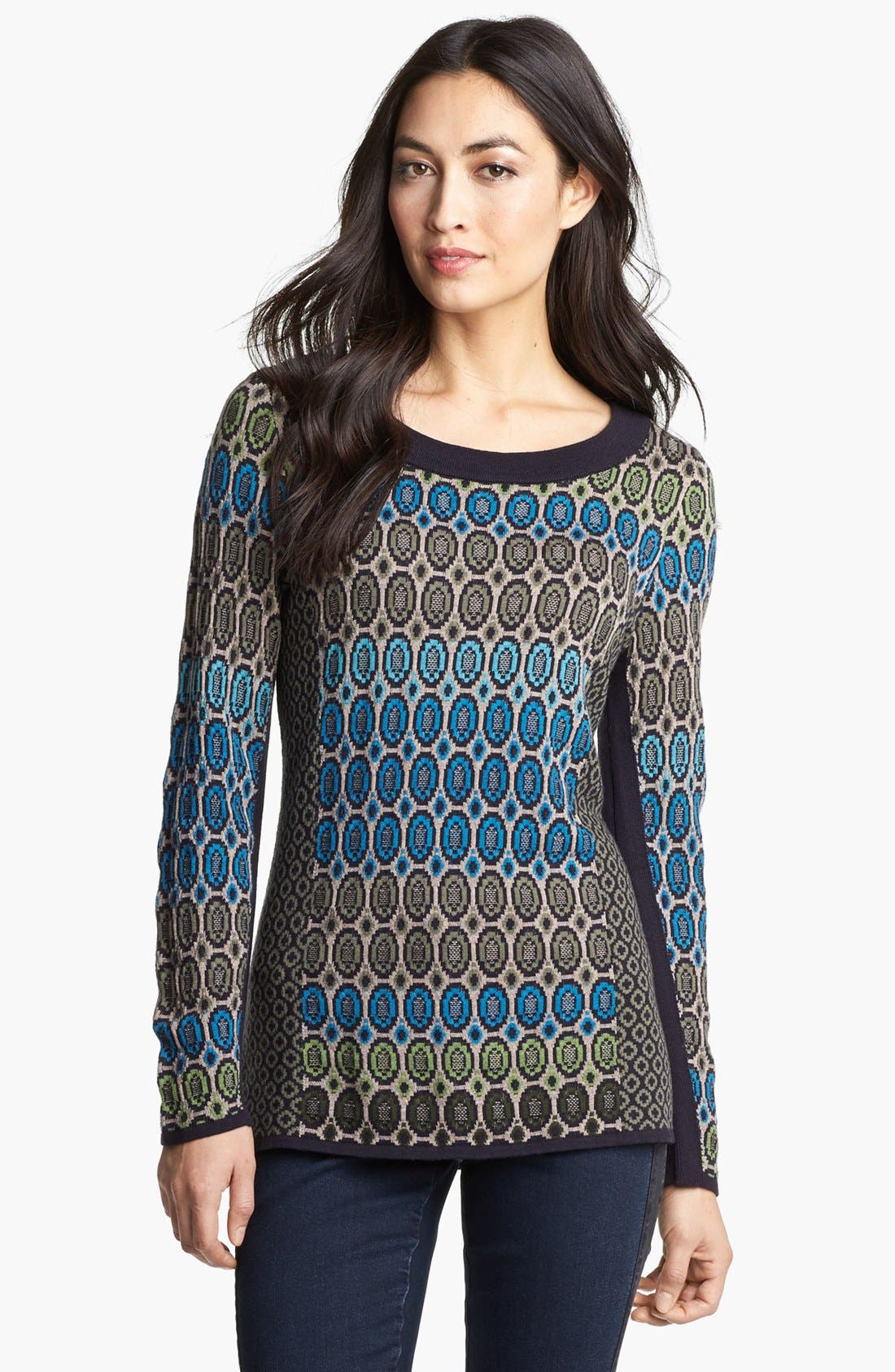 Nic + Zoe 'Geo Jacquard' Sweater,                             Main thumbnail 1, color,                             Multi