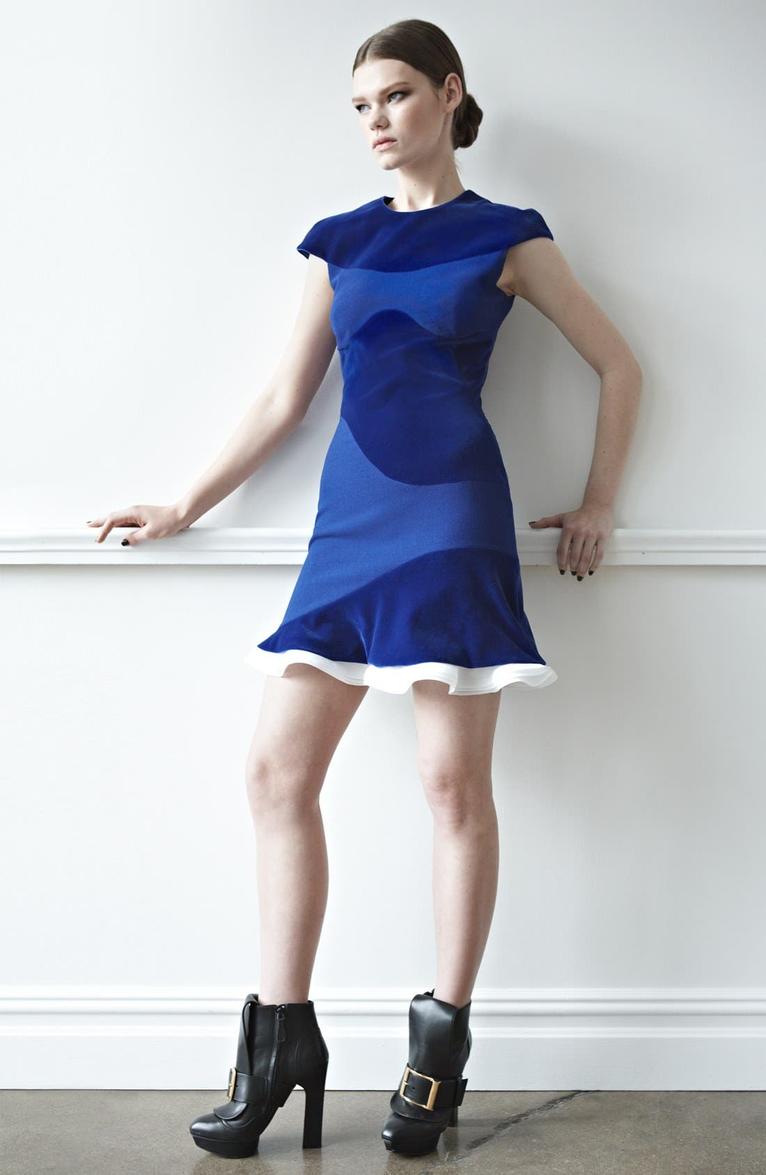 Alternate Image 5  - Alexander McQueen Organza Trim Velvet Dress