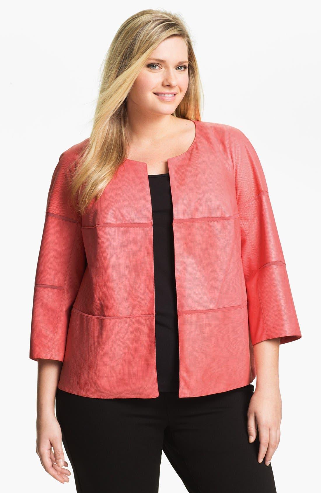 Main Image - Lafayette 148 New York Leather Jacket (Plus Size)