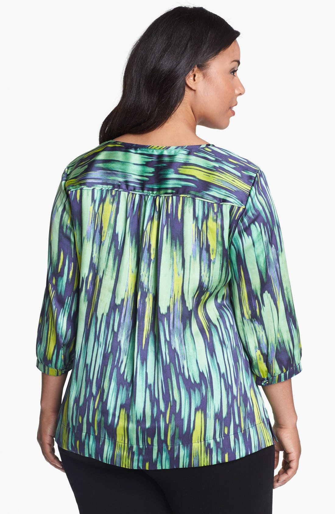 Alternate Image 2  - Sejour Print Satin Top (Plus Size)