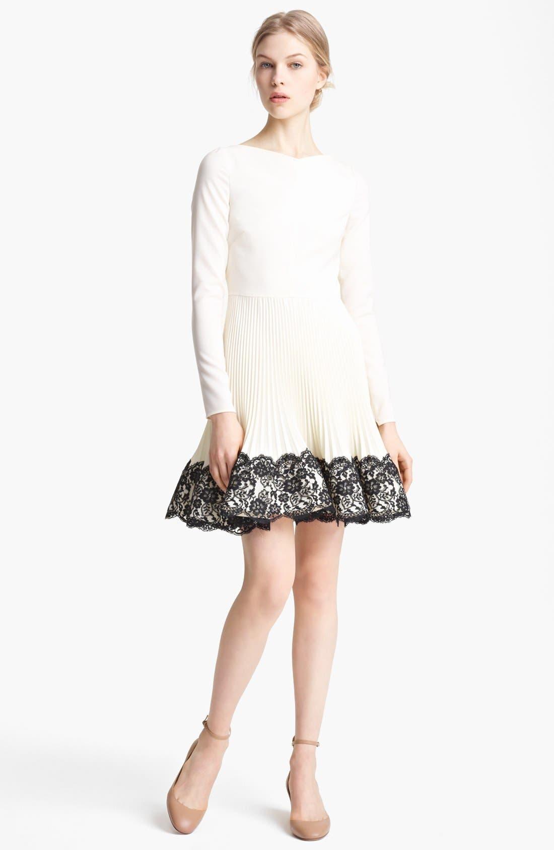 Main Image - Valentino Lace Hem Wool Dress
