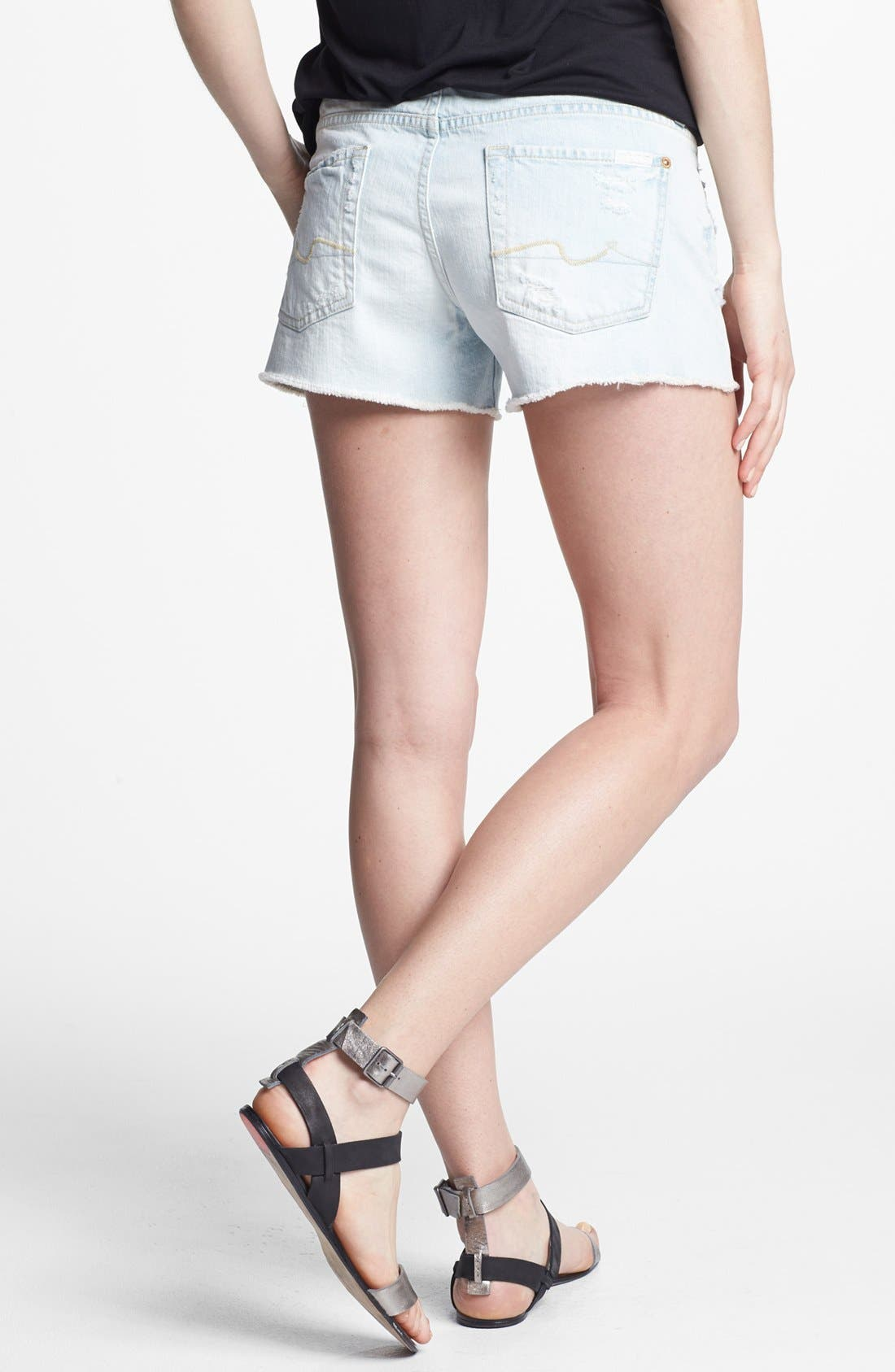 Alternate Image 2  - 7 For All Mankind® Cutoff Denim Shorts (Distressed Light)