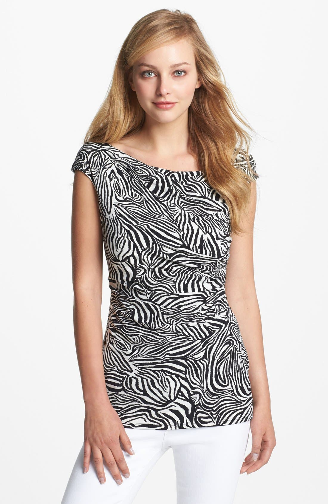 Alternate Image 1 Selected - Vince Camuto Zebra Ruched Top