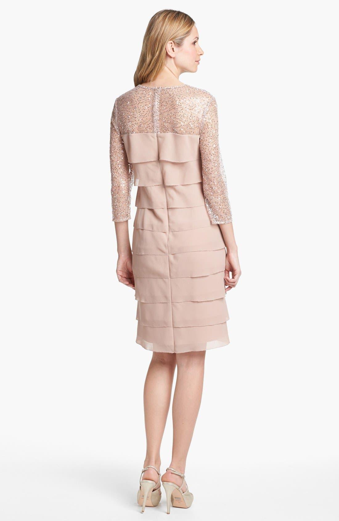 Alternate Image 2  - Alex Evenings Embellished Yoke Tiered Dress (Petite)
