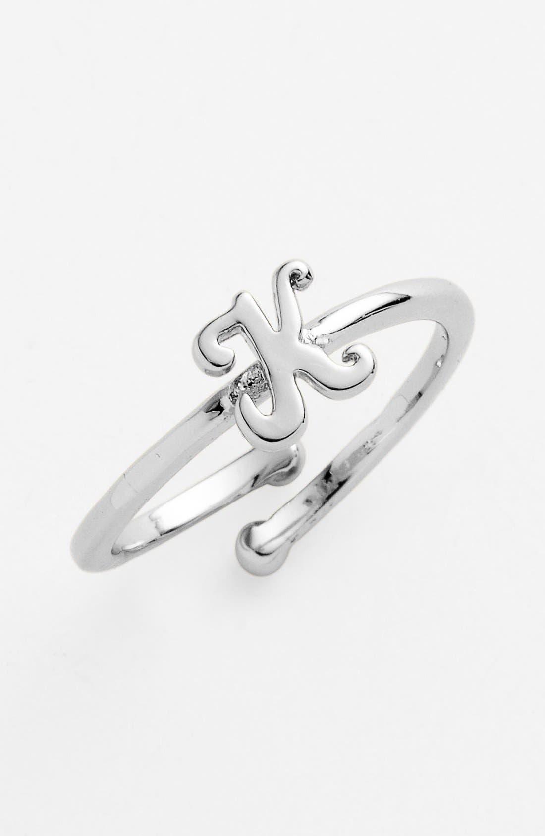 Script Initial Ring,                         Main,                         color, K - Silver