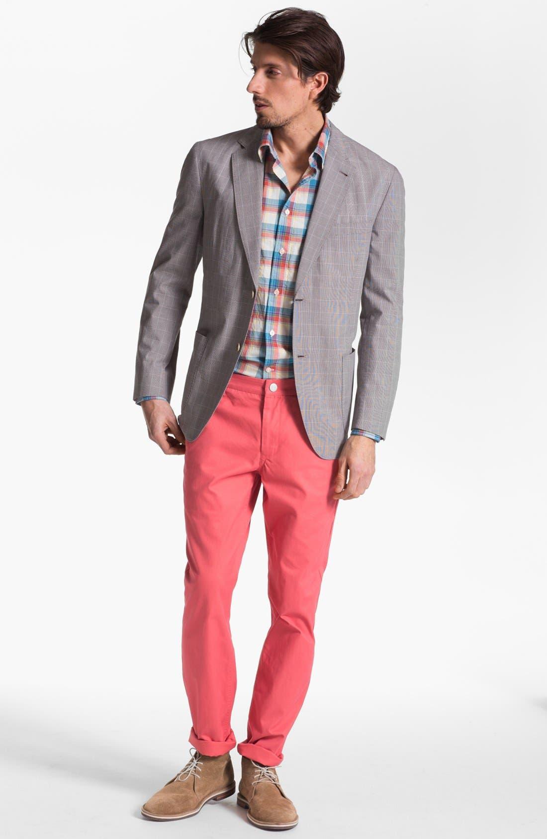 Alternate Image 3  - Façonnable Tailored Denim Plaid Sport Shirt