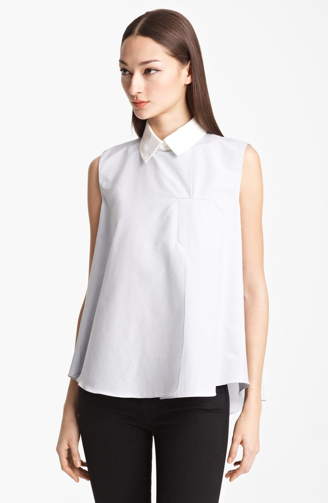 Alternate Image 1 Selected - Thakoon Sleeveless Cotton & Silk Shirt