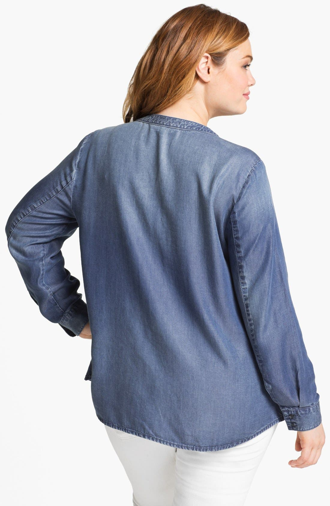 Alternate Image 2  - Sejour Chambray Button Shirt (Plus Size)