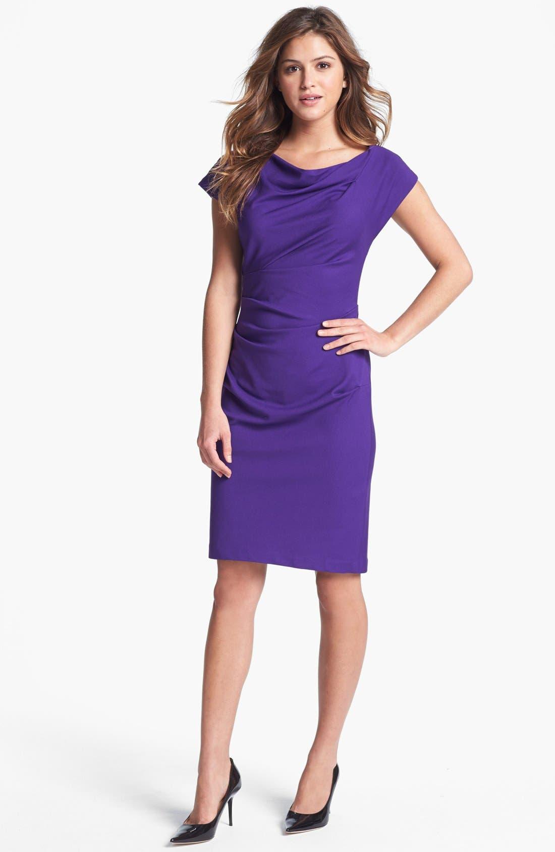 Main Image - Ivy & Blu Cowl Neck Sheath Dress