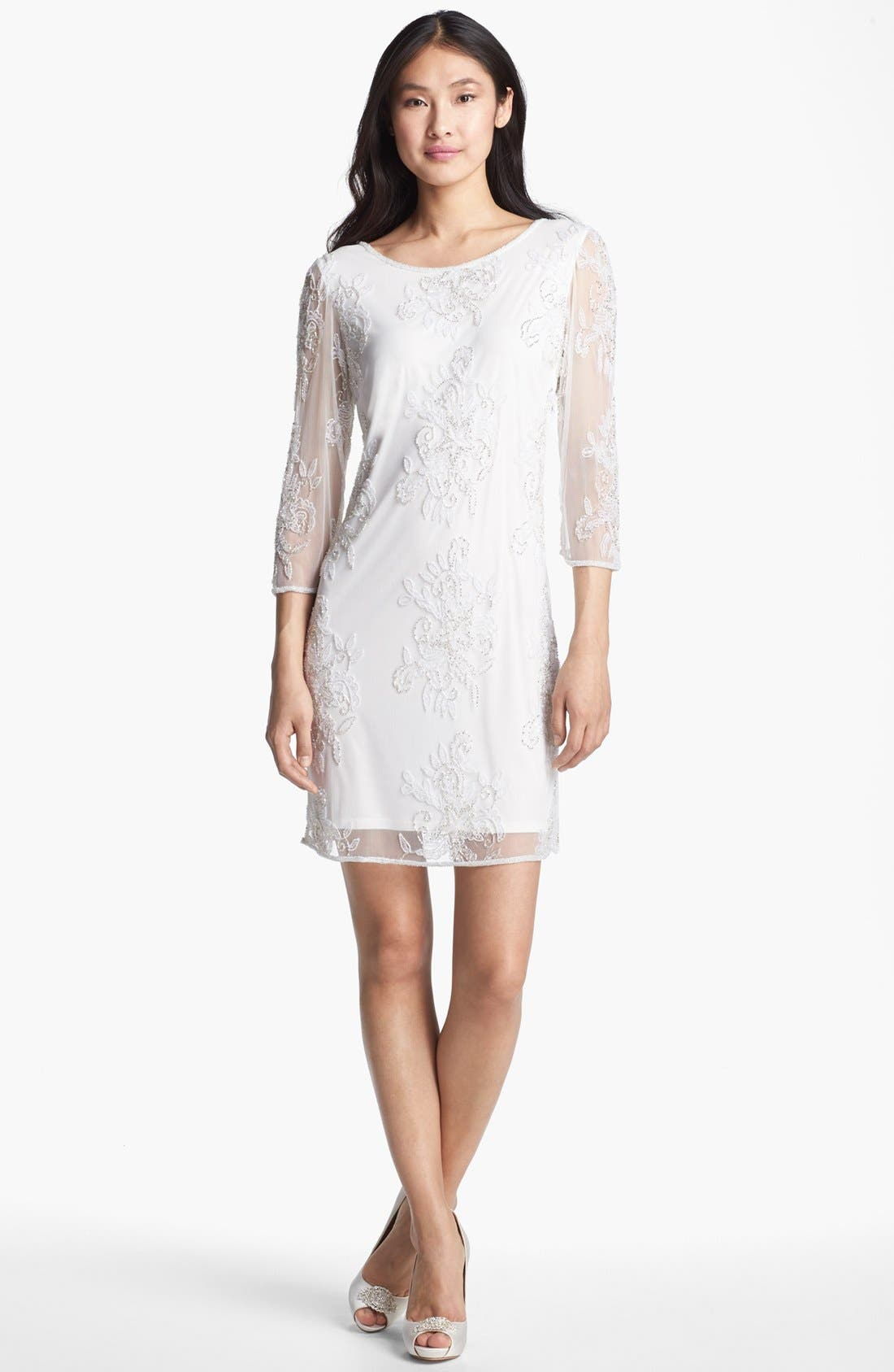 Main Image - Pisarro Nights Embellished Sheer Sleeve Tulle Dress